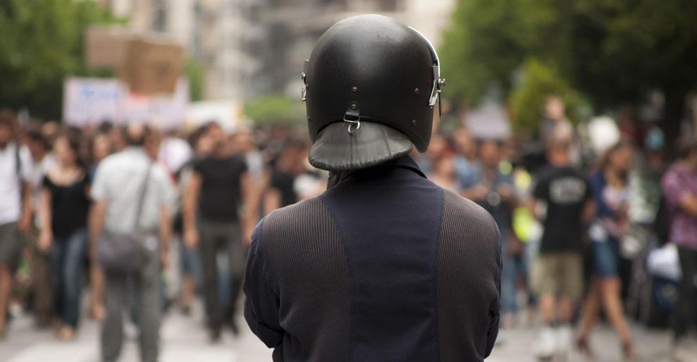 riot-police-swords -stentor application Acoustic Hailing Device -Acoustic Hailing -Speaker